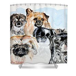 Shower Curtain featuring the painting Rose's Pekingese by Stan Tenney