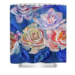 Roses, Roses On Blue Shower Curtain