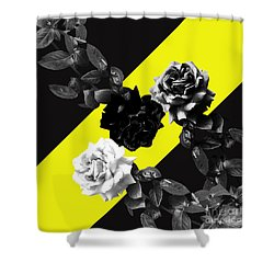 Roses Versus Yellow Shower Curtain