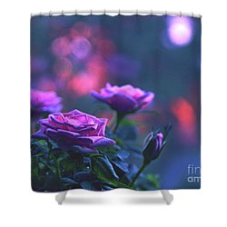 Shower Curtain featuring the photograph Roses With Evening Tint by Lance Sheridan-Peel