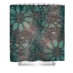 Shower Curtain featuring the painting Rosette Stamps by Jocelyn Friis