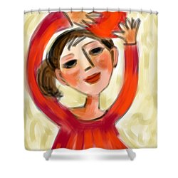 Rosie Red  Shower Curtain by Elaine Lanoue