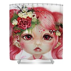 Shower Curtain featuring the drawing Rosie Valentine - Munchkinz Collection  by Sheena Pike