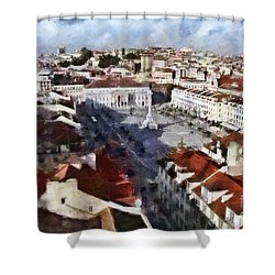 Shower Curtain featuring the photograph Rossio Square by Dariusz Gudowicz