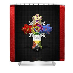 Rosy Cross - Rose Croix  Shower Curtain by Serge Averbukh