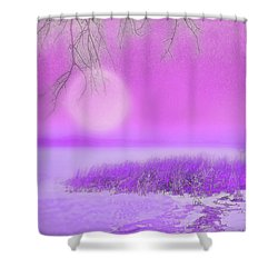 Rosy Hued Moonlit Lake - Boulder County Colorado Shower Curtain