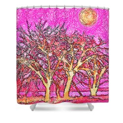 Shower Curtain featuring the digital art Rosy Hued Trees - Boulder County Colorado by Joel Bruce Wallach