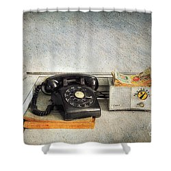 Rotary Dial Phone In Black S And H Stamps Shower Curtain by Paul Ward