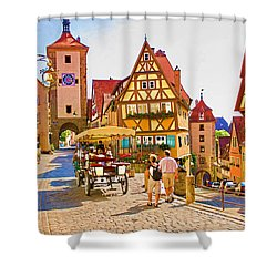 Rothenburg Little Square Shower Curtain by Dennis Cox WorldViews