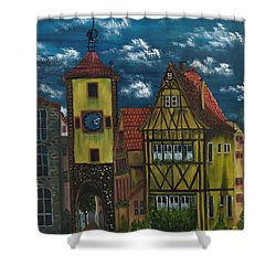 Shower Curtain featuring the painting Rothenburg Ob Der Tauber by The GYPSY And DEBBIE