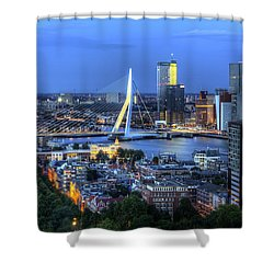 Rotterdam Skyline With Erasmus Bridge Shower Curtain