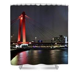 Rotterdam - Willemsbrug At Night Shower Curtain