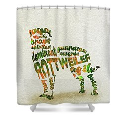 Shower Curtain featuring the painting Rottweiler Dog Watercolor Painting / Typographic Art by Inspirowl Design