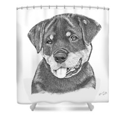 Rottweiler Puppy- Chloe Shower Curtain by Patricia Hiltz
