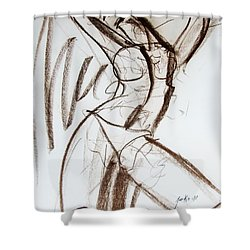 Shower Curtain featuring the drawing Rough  by Jarko Aka Lui Grande