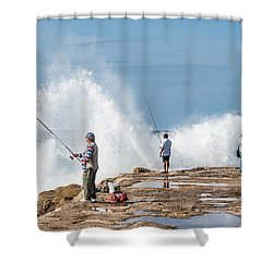 Rough Sea Fishing Shower Curtain