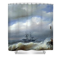 Rough Sea In Stormy Weather Shower Curtain by Paul Jean Clays