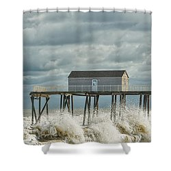 Rough Surf At The Fishing Pier Shower Curtain by Gary Slawsky