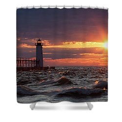 Shower Curtain featuring the photograph Rough Water Sunset by Fran Riley