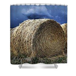 Shower Curtain featuring the photograph Round Bales by Brad Allen Fine Art