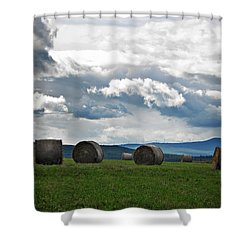 Round Bales Under A Cloudy Sky Shower Curtain