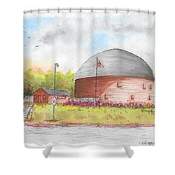 Round Barn In Route 66, Arcadia, Oklahoma Shower Curtain