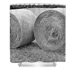 Round Hay Bales Black And White  Shower Curtain by James BO  Insogna