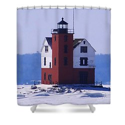 Round Island 3 Shower Curtain by Keith Stokes