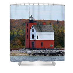 Round Island Lighthouse In October Shower Curtain