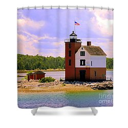 Round Island Lighthouse Shower Curtain
