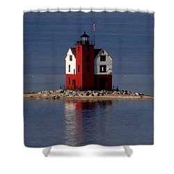 Round Island Lighthouse In The Morning Shower Curtain by Keith Stokes