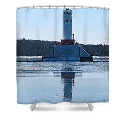 Round Island Passage Light In Winter Shower Curtain