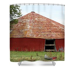 Shower Curtain featuring the photograph Round Red Barn by Sheila Brown