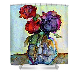 Round Table With Flowers Shower Curtain by Priti Lathia