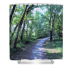 Round The Bend Shower Curtain by Dave Luebbert
