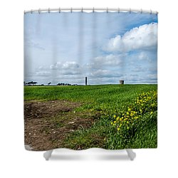Round Tower Portrane Shower Curtain by Martina Fagan