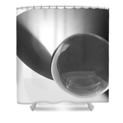 Round We Go Shower Curtain by Carolyn Dalessandro