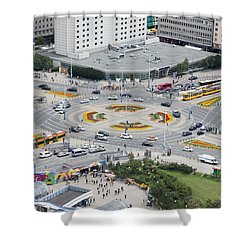 Shower Curtain featuring the photograph Roundabout In Warsaw by Chevy Fleet