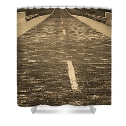 Shower Curtain featuring the photograph Route 66 - Brick Highway 2 Sepia by Frank Romeo