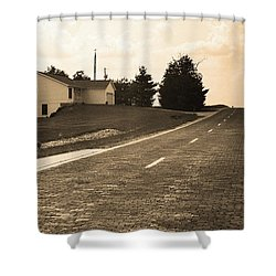 Shower Curtain featuring the photograph Route 66 - Brick Highway Sepia by Frank Romeo