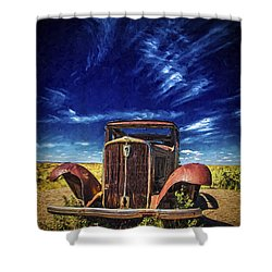 Shower Curtain featuring the photograph Route 66 Derelict  ... by Chuck Caramella