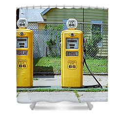 Route 66 - Illinois Gas Pumps Shower Curtain by Frank Romeo