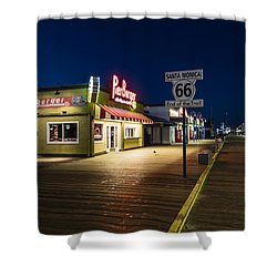 Route 66 Pier Burger Shower Curtain by John McGraw