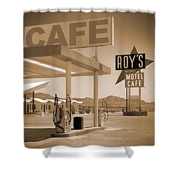 Route 66 - Roy's Motel  Shower Curtain by Mike McGlothlen