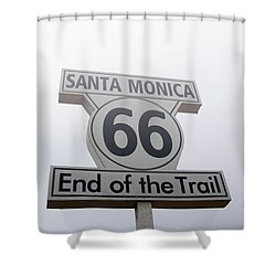 Route 66 Santa Monica- By Linda Woods Shower Curtain by Linda Woods