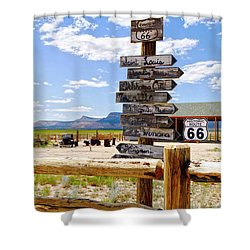 Route 66 Sign Post Shower Curtain