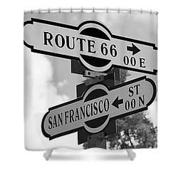 Route 66 Street Sign Black And White Shower Curtain by Phyllis Denton