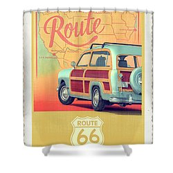 Shower Curtain featuring the digital art Route 66 Vintage Postcard by Edward Fielding