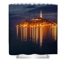 Shower Curtain featuring the photograph Rovinj By Night by Davorin Mance