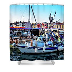 Rovinj Harbor And Boats Panorama Shower Curtain